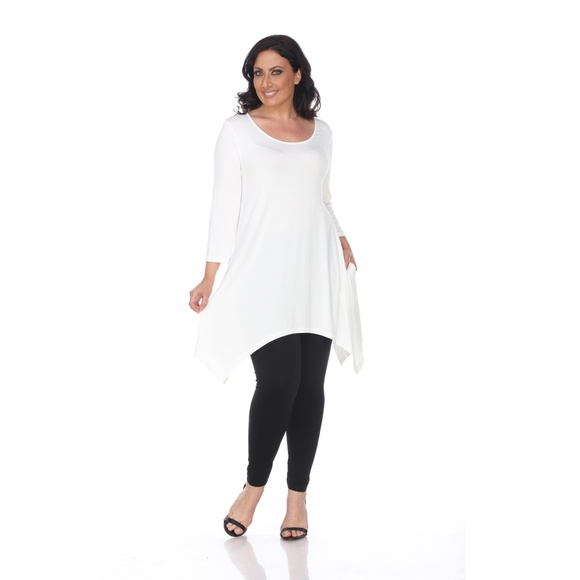 49e7aef1689 Plus Size Makayla Lux Tunic Rayon White PS1302-07